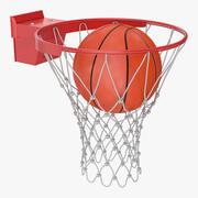 Animated Basketball Falls Through Hoop 3d model