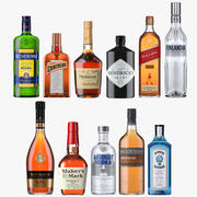 Kolekcja wysokiej jakości butelek alkoholi 3d model