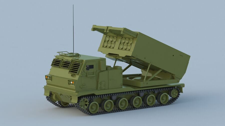 M270 Raketensystem mit mehreren Starts (MLRS) royalty-free 3d model - Preview no. 8