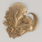 3D-modell för mamma och bebis | Br-005 3d model