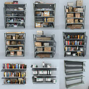 Metal Shelving With Clutter Collection 3d model