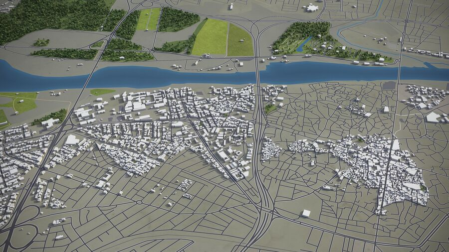 Mosul - Stadt und Umgebung royalty-free 3d model - Preview no. 8