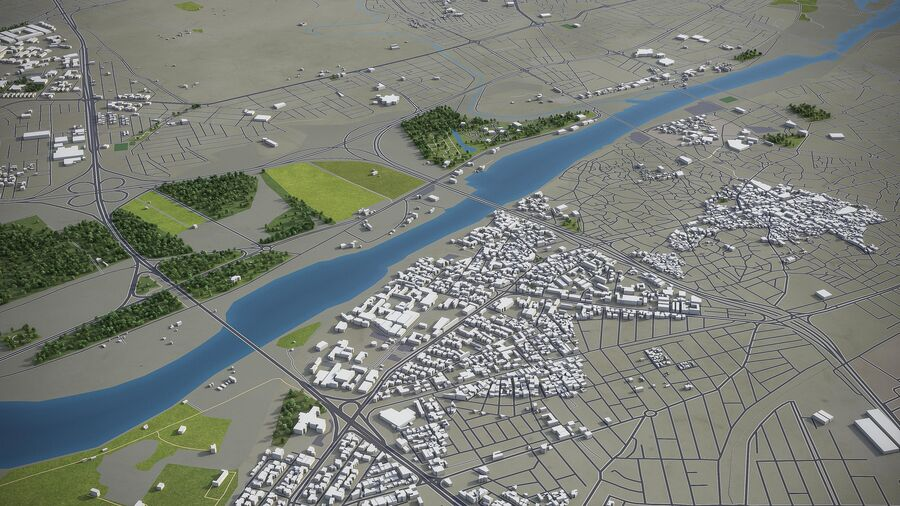 Mosul - Stadt und Umgebung royalty-free 3d model - Preview no. 9