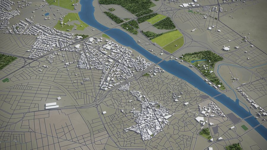 Mosul - Stadt und Umgebung royalty-free 3d model - Preview no. 2