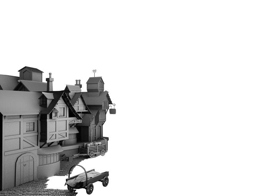 pueblo medevial royalty-free modelo 3d - Preview no. 6