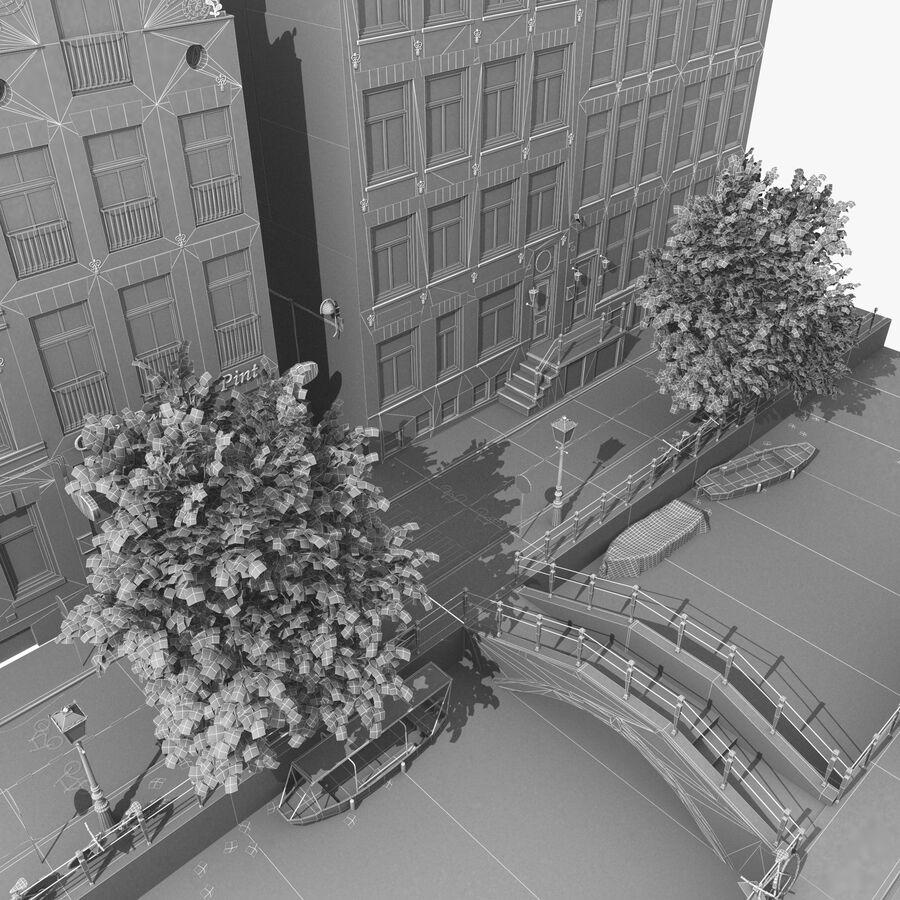 Amsterdam Street royalty-free 3d model - Preview no. 10