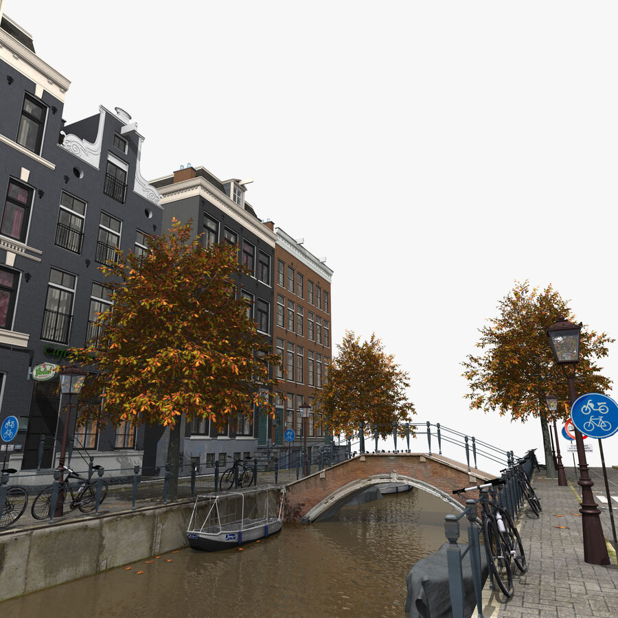 Amsterdam Street royalty-free 3d model - Preview no. 4