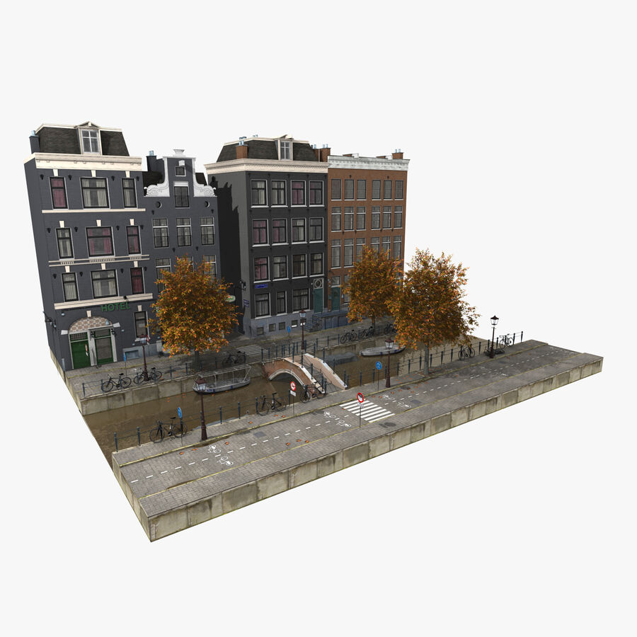 Amsterdam Street royalty-free 3d model - Preview no. 2