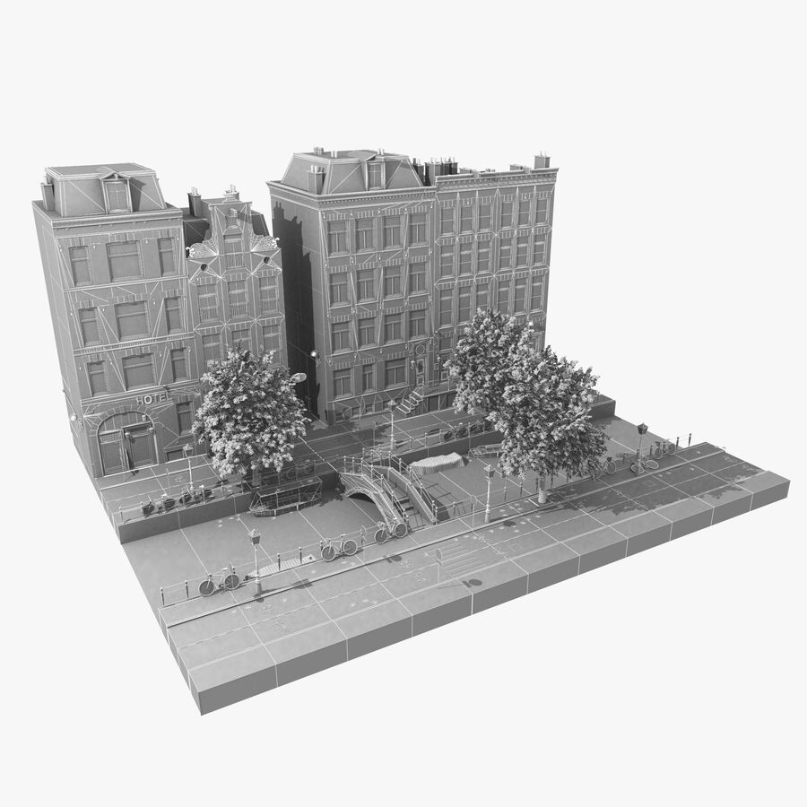Amsterdam Street royalty-free 3d model - Preview no. 9