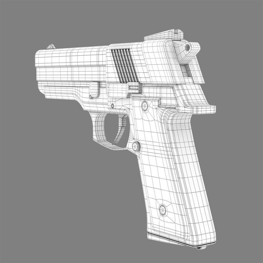 Pistola arma royalty-free modelo 3d - Preview no. 7