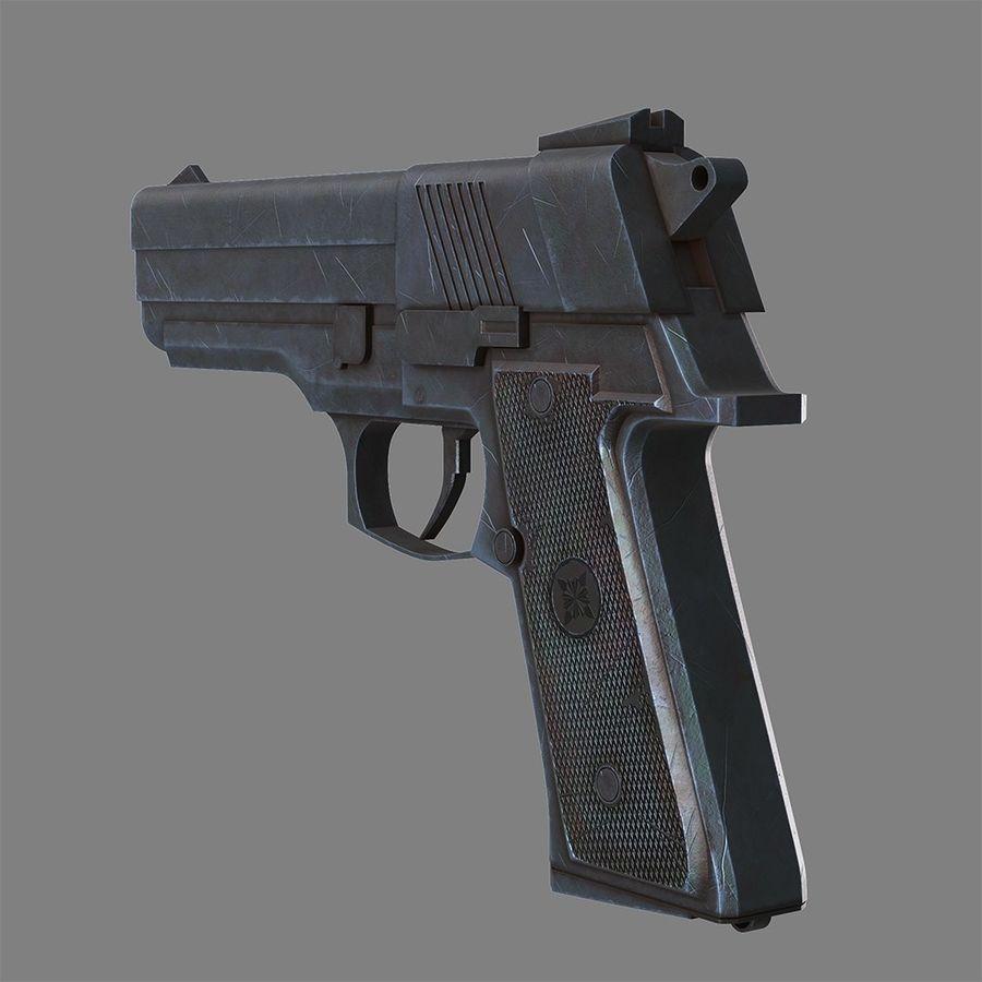 Pistola arma royalty-free modelo 3d - Preview no. 3