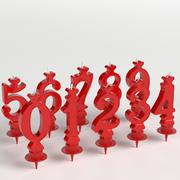 Number candles for cakes 3d model