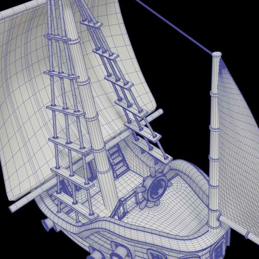 Segelschiff royalty-free 3d model - Preview no. 4
