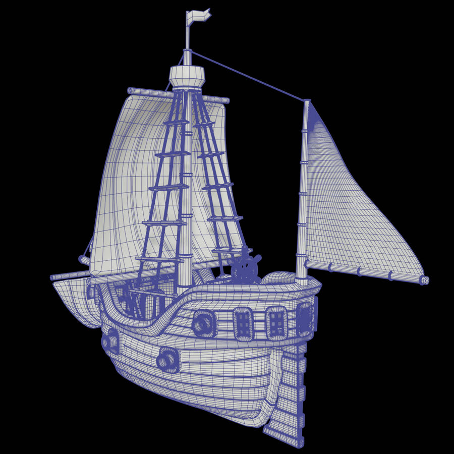 Segelschiff royalty-free 3d model - Preview no. 6