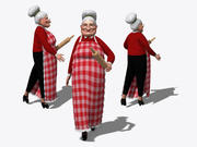 Rigged Grandma Old Woman Character 3d model