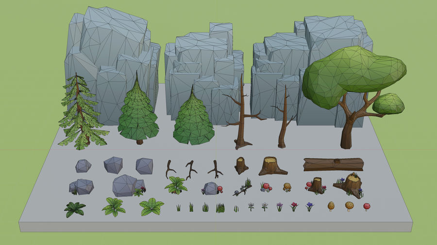 Low Poly Cartoon Trees Grass Plants and Rocks royalty-free 3d model - Preview no. 15