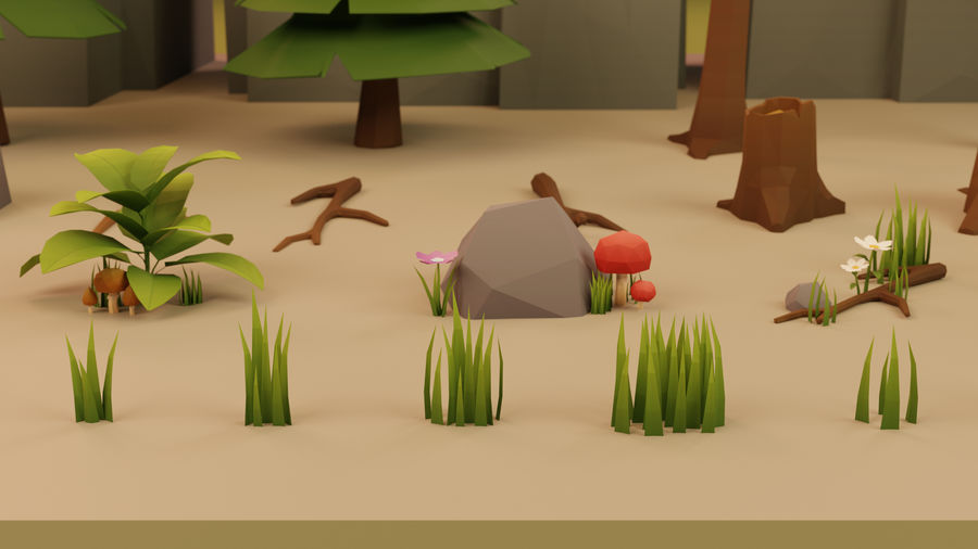 Low Poly Cartoon Trees Grass Plants and Rocks royalty-free 3d model - Preview no. 8