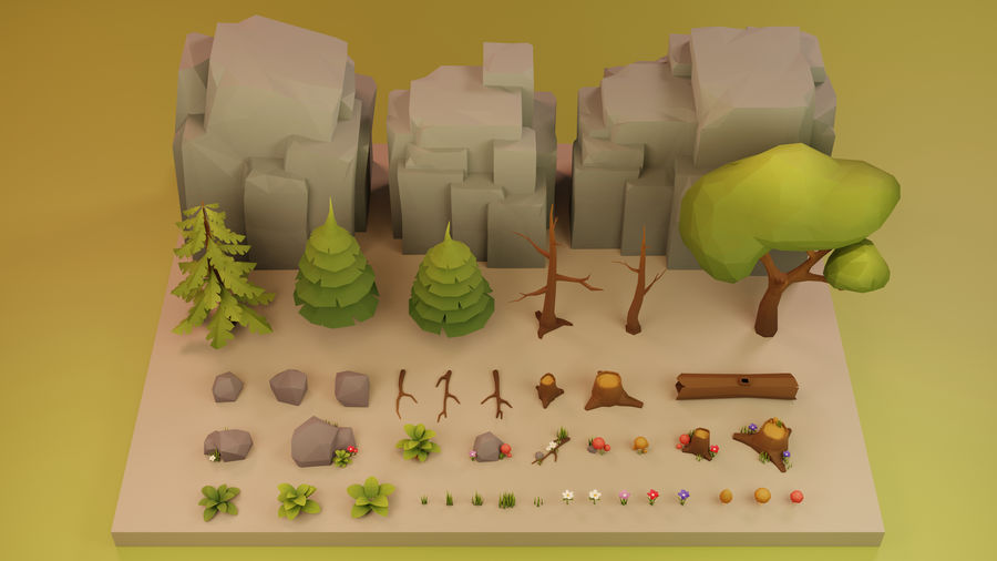 Low Poly Cartoon Trees Grass Plants and Rocks royalty-free 3d model - Preview no. 14