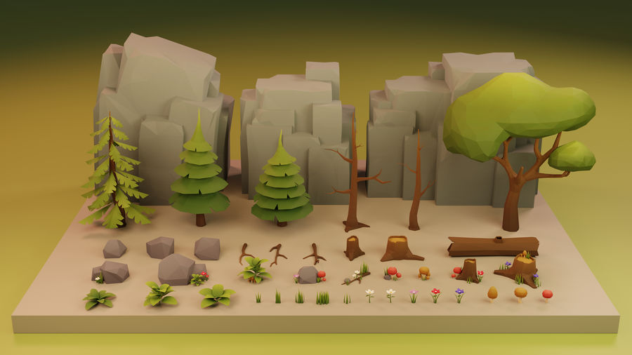 Low Poly Cartoon Trees Grass Plants and Rocks royalty-free 3d model - Preview no. 1