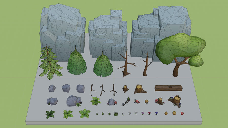Low Poly Cartoon Trees Grass Plants and Rocks royalty-free 3d model - Preview no. 16