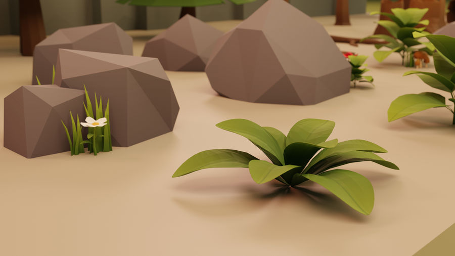 Low Poly Cartoon Trees Grass Plants and Rocks royalty-free 3d model - Preview no. 4