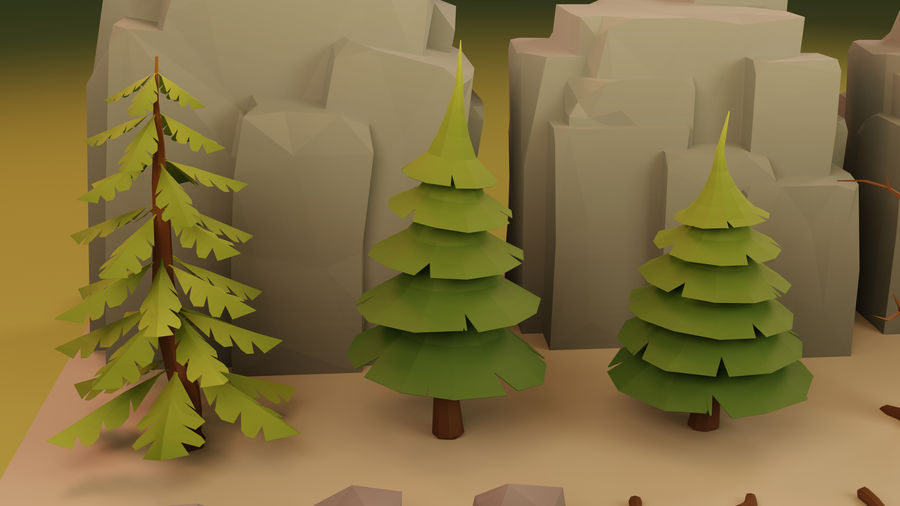 Low Poly Cartoon Trees Grass Plants and Rocks royalty-free 3d model - Preview no. 10