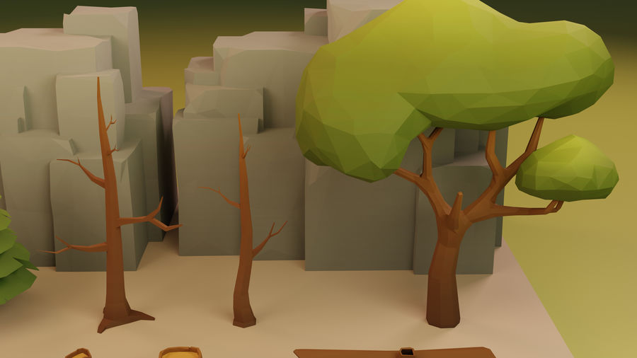 Low Poly Cartoon Trees Grass Plants and Rocks royalty-free 3d model - Preview no. 11