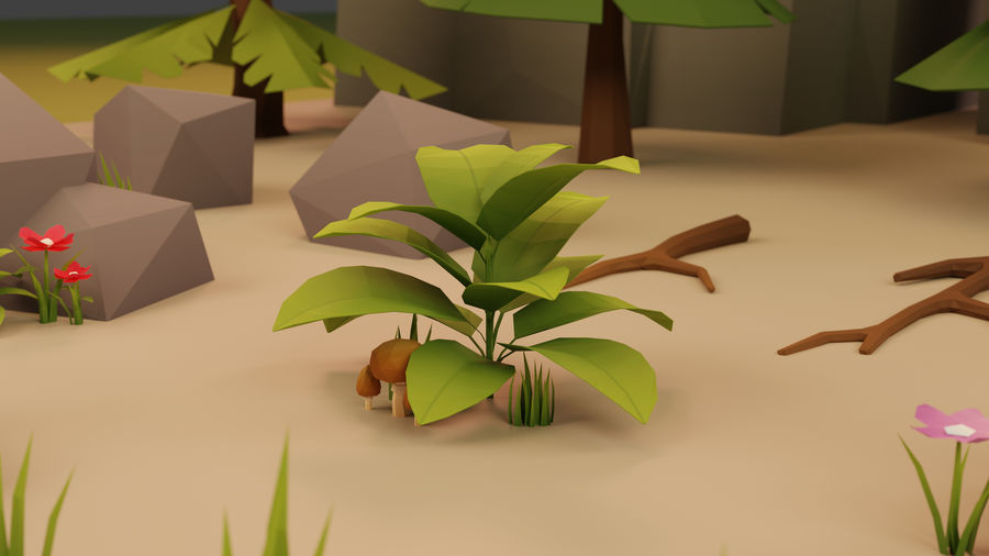 Low Poly Cartoon Trees Grass Plants and Rocks royalty-free 3d model - Preview no. 5