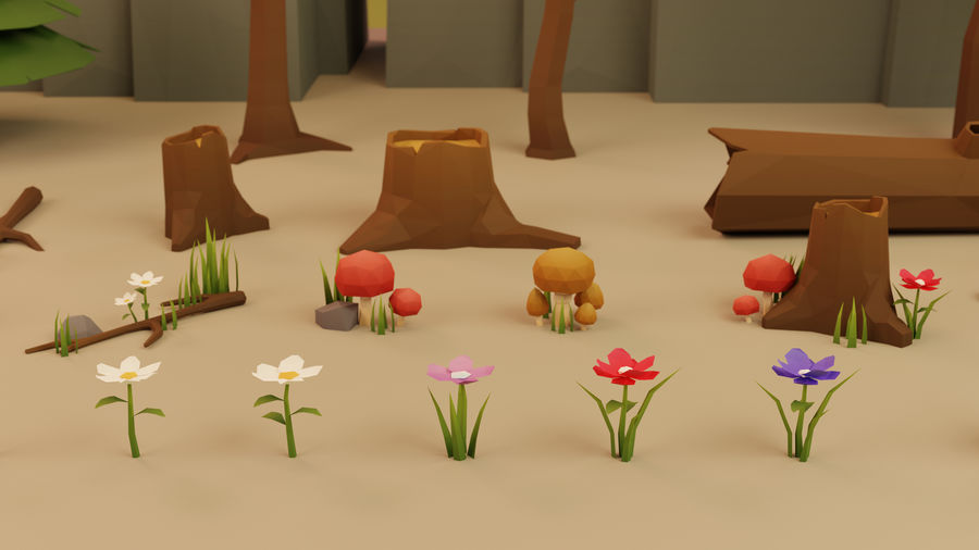 Low Poly Cartoon Trees Grass Plants and Rocks royalty-free 3d model - Preview no. 9
