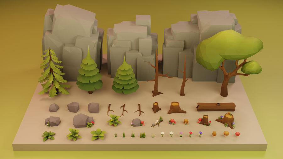 Low Poly Cartoon Trees Grass Plants and Rocks royalty-free 3d model - Preview no. 12