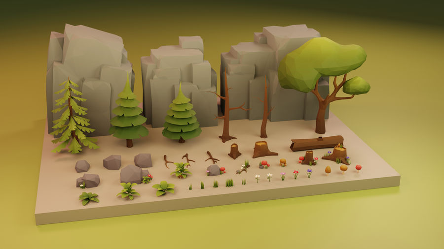 Low Poly Cartoon Trees Grass Plants and Rocks royalty-free 3d model - Preview no. 2