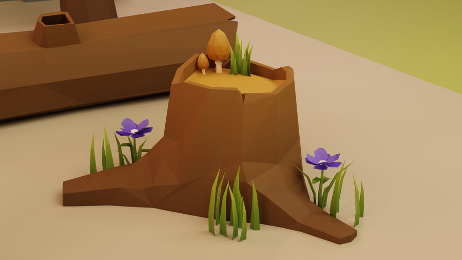 Low Poly Cartoon Trees Grass Plants and Rocks royalty-free 3d model - Preview no. 7