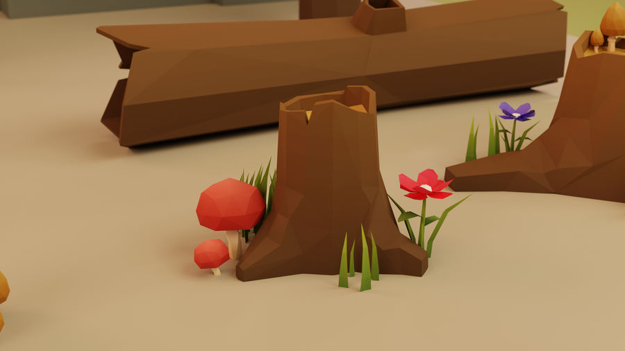 Low Poly Cartoon Trees Grass Plants and Rocks royalty-free 3d model - Preview no. 6