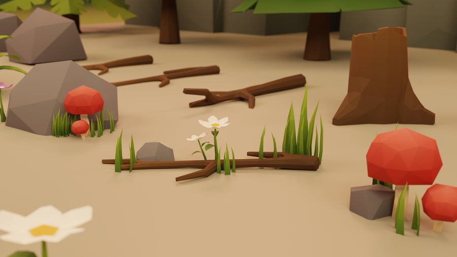 Low Poly Cartoon Trees Grass Plants and Rocks royalty-free 3d model - Preview no. 3