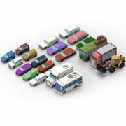 设置卡通车 3d model
