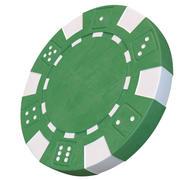 Chip de cassino modelo 3D verde chip de poker 3d model