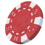 Chip de cassino modelo 3D chip de poker vermelho 3d model