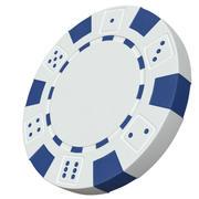Chip de cassino modelo 3D chip de pôquer branco 3d model