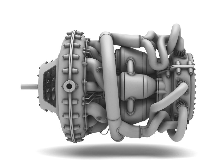 Motor a jato royalty-free 3d model - Preview no. 8