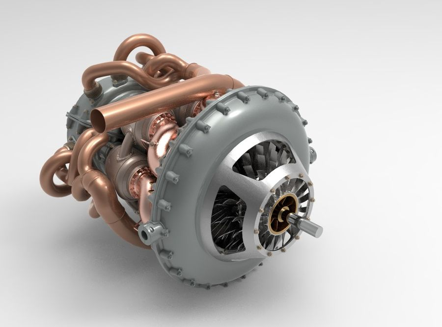 Motor a jato royalty-free 3d model - Preview no. 4