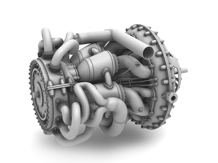 Motor a jato royalty-free 3d model - Preview no. 9
