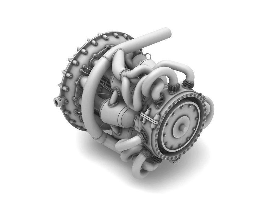 Motor a jato royalty-free 3d model - Preview no. 7