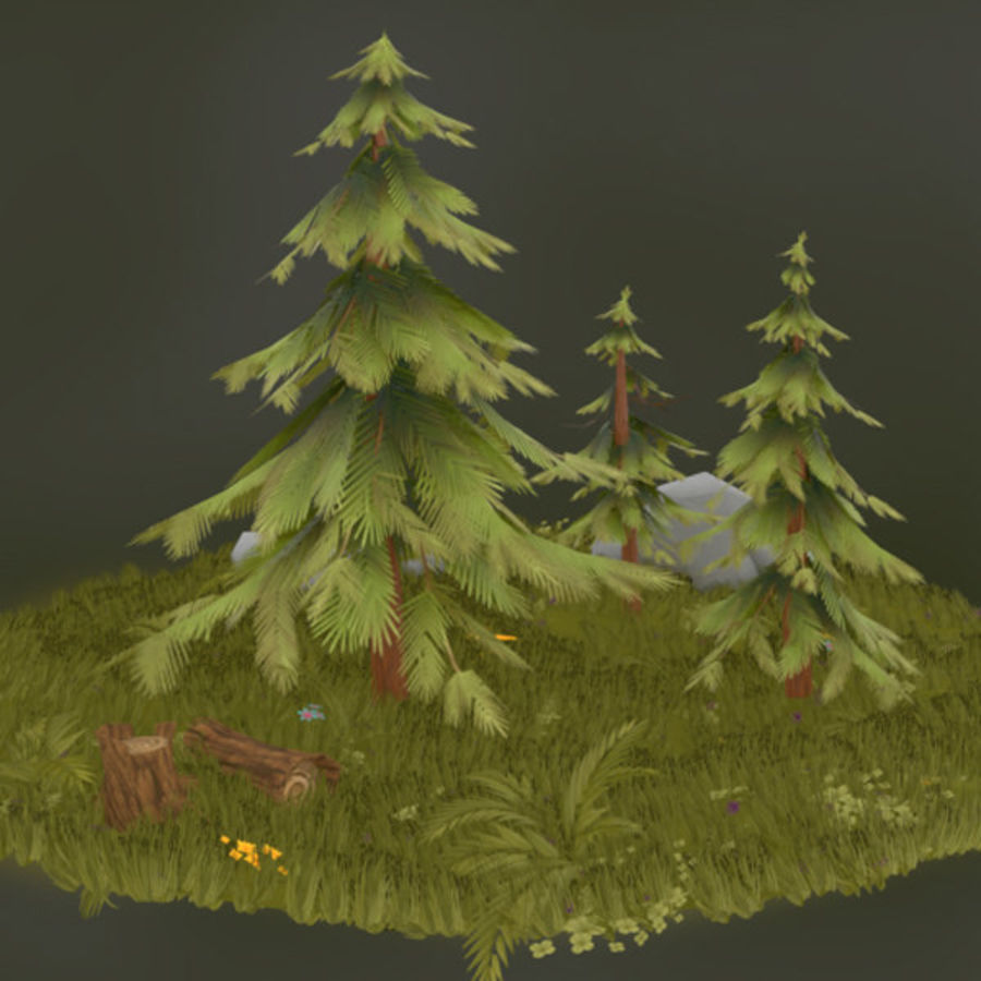Zasób leśny royalty-free 3d model - Preview no. 1