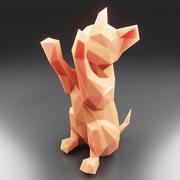 Yavru Kedi Düşük Poli 3 3d model