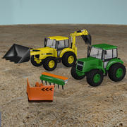 Traktor und Baggerlader 3d model