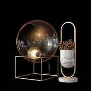 Lámpara de cristal y un elemento de decoración modelo 3d