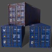 PBR 20 ft frakt lastbehållare version 1 - blå 3d model