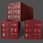 PBR 20 ft Spedizione container versione 1 - Rosso 3d model