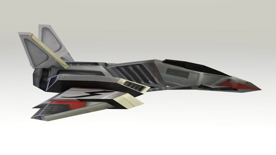 Scifi Fighter lowpoly royalty-free 3d model - Preview no. 6