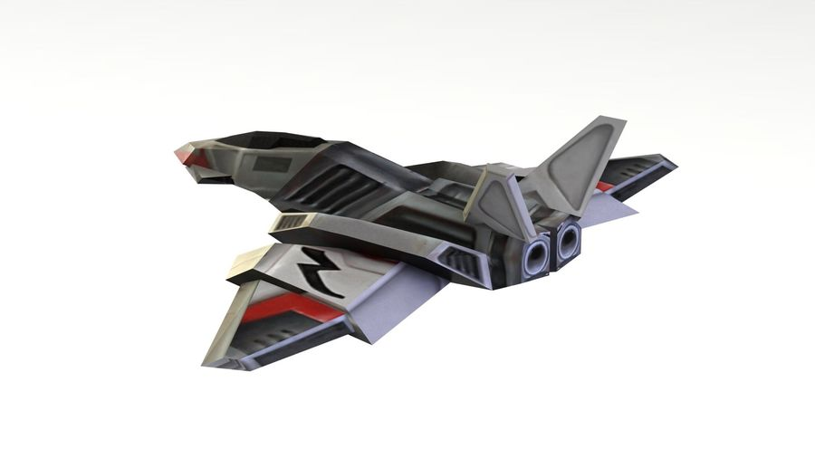 Scifi Fighter lowpoly royalty-free 3d model - Preview no. 4